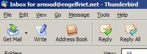 Beeldcitaat uit de Mozilla Thunderbird-knoppenbalk