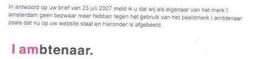Citaat uit brief gemeente Amsterdam aan Ambtenaar