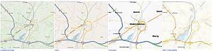Vier kaarten uit het OpenStreetmap project, gebaseerd op dezelfde data